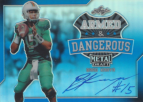 2017 Leaf Metal Draft Football Armed and Dangerous Blue Prismatic Brad Kaaya