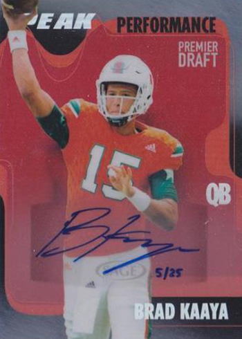 2017 SAGE Hit Premier Draft Low Series Football Peak Performance Autograph Brad Kaaya