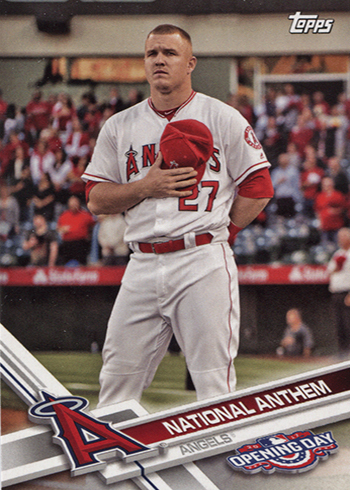 2017 Topps Opening Day National Anthem 22 Mike Trout