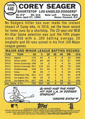2017 Topps Heritage 440 Corey Seager Reverse