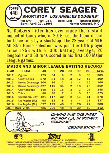 2017 Topps Heritage Bright Yellow Back Corey Seager Reverse