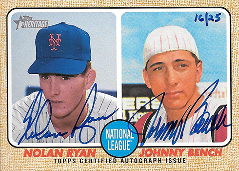 2017 Topps Heritage Real One Dual Autographs Nolan Ryan Johnny Bench