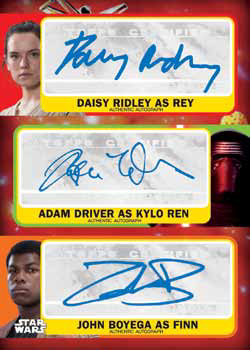 2017 Topps Journey to Star Wars the Last Jedi Triple Autograph