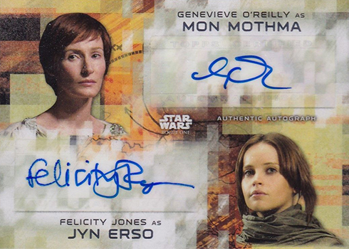 2017 Topps Rogue One Series 2 Dual Autograph Genevieve OReilly Felicity Jones