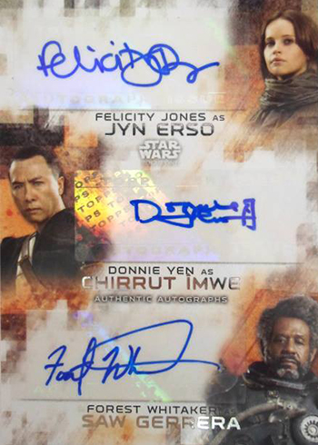 2017 Topps Rogue One Series 2 Triple Autograph Felicity Jones Donnie Yen Forest Whitaker