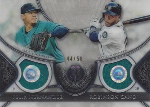 2017 Topps Tribute Baseball Dual Relics Felix Hernandez Robinson Cano