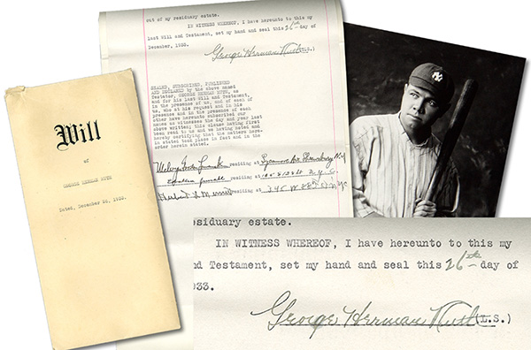 Babe Ruth Last Will and Testament 1933 A