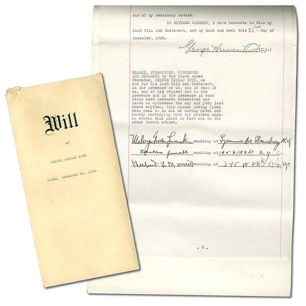 Babe Ruth Last Will and Testament 1933 B