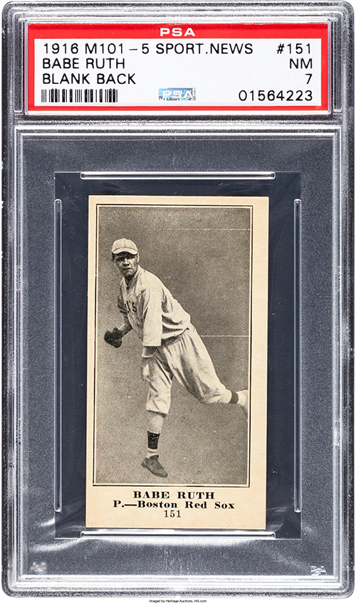 1916 M101-5 Blank Back Babe Ruth PSA 7 Heritage May-2017 front