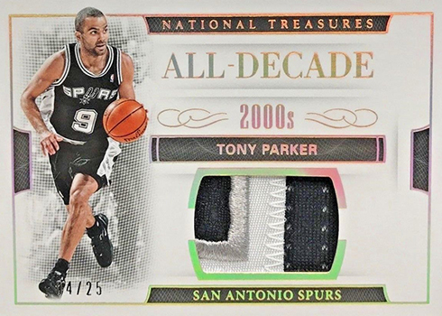 2016-17 Panini National Treasures Basketball All-Decade Materials Prime Tony Parker