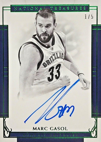 2016-17 Panini National Treasures Basketball Signatures Emerald Marc Gasol