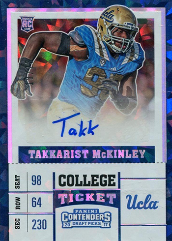 2017 Contenders Draft Picks Takkarist McKinley Autograph Cracked Ice