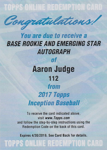 2017 Topps Inception Aaron Judge Autograph Redemption