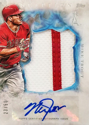 2017 Topps Inception Baseball Jumbo Patch Autograph Mike Trout