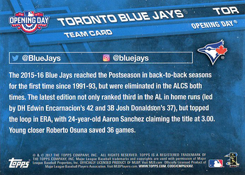 2017 Topps Opening Day Blue Jays Team Card Reverse TOR