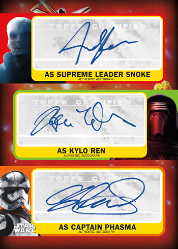 2017 Topps Star Wars Journey to the Last Jedi Triple Auotgraph Snoke Kylo Phasma