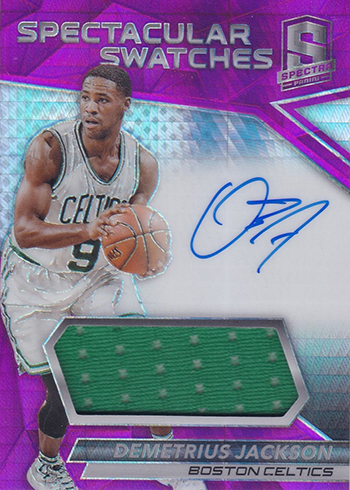 2016-17 Panini Spectra Basketball Spectacular Swatches Autographs Pink Demetrius Jackson