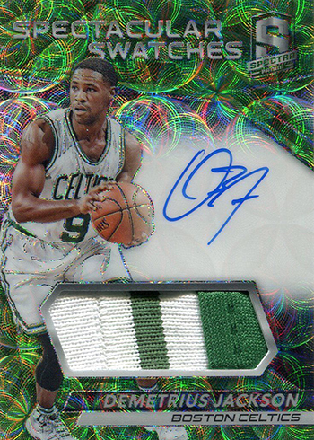 2016-17 Spectra Basketball Spectacular Swatches Signatures Neon Green Demetrius Jackson