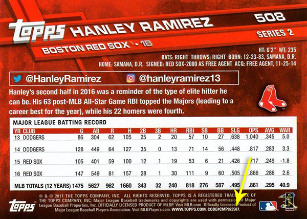 2017 T2 Var 508 Hanley Ramirez Back Arrow