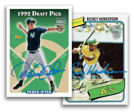 2017-Topps-Archives-Signature-Series-Baseball-Postseason-Edition-Derek-Jeter-Rickey-Henderson
