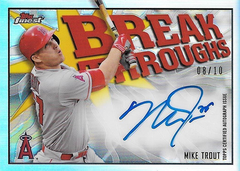 2017 Topps Finest Baseball Finest Breakthroughs Autographs Mike Trout