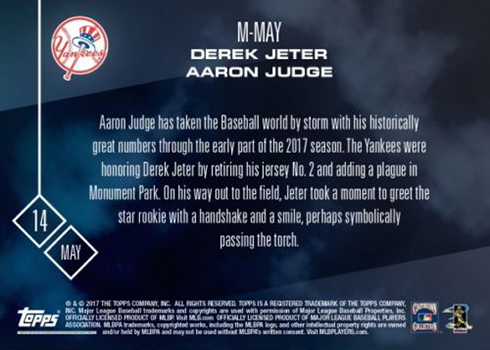 2017 Topps Now Card of the Month M-MAY Derek Jeter Aaron Judge Reverse