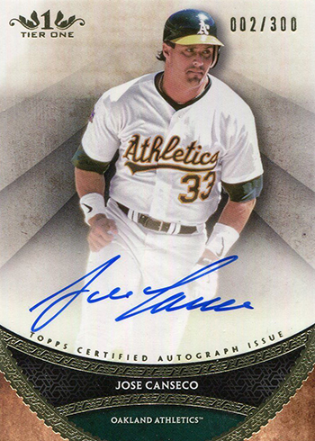 2017 Topps Tier One Baseball Prime Performers Autographs Jose Canseco