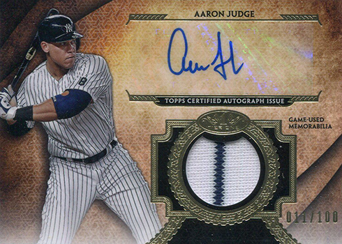2017 Topps Tier One Baseball Tier One Autographed Relics Aaron Judge
