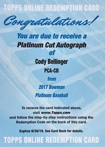2017 Bowman Platinum Platinum Cut Cody Bellinger Autograph Redemption