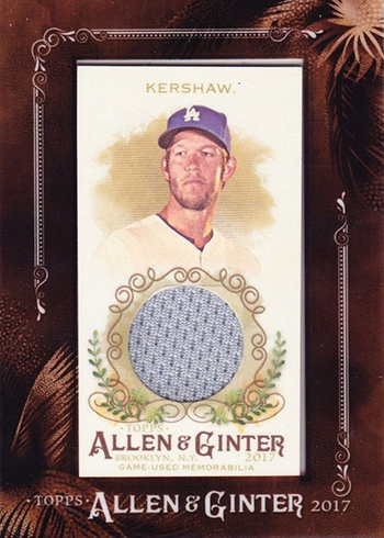 2017 Topps Allen and Ginter Baseball Framed Mini Relic Clayton Kershaw