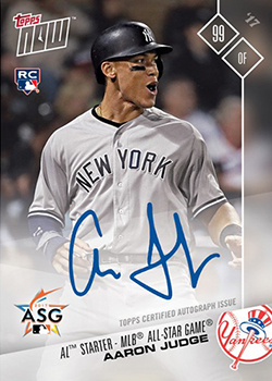 2017 Topps Now American League All-Star Aaron Judge Autograph feature