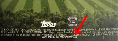 2017 Topps Stadium Club Variations Code Arrow