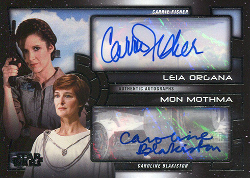 2017 Topps Star Wars Galactic Files Reborn Dual Autograph Carrie Fisher Caroline Blakiston