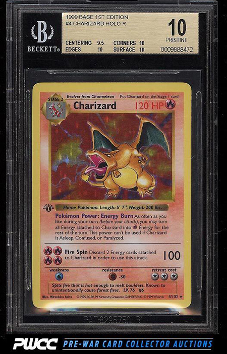 1999 Pokemon 1st Edition Charizard Holo BGS 10