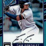 2017 Donruss Optic Baseball Autographs Rated Rookie Aqua Gonzalez