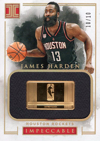 2016-17 Panini Impeccable Basketball NBA Logo Gold James Harden
