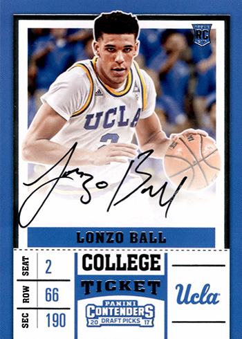 2017-18 Panini Contenders Draft Picks Lonzo Ball Rookie Card