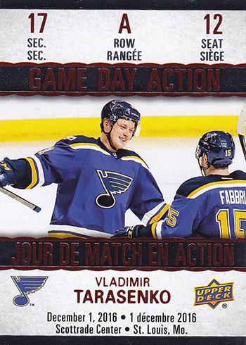 2017-18 Upper Deck Tim Hortons Hockey Game Day Action Vladimir Tarasenko