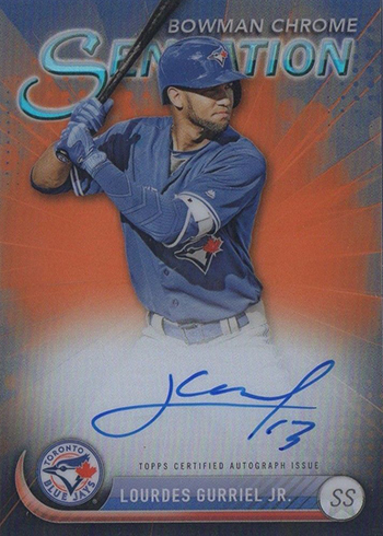 2017 Bowman Chrome Baseball Chrome Sensation Autographs Orange Lourdes Gurriel Jr.
