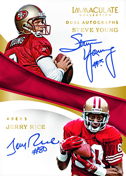 2017 Panini Immaculate Football Dual Autograph Steve Young Jerry Rice