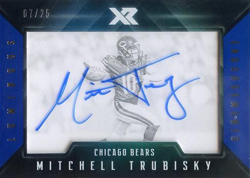 2017 Panini XR Football Luminous Endorsements Blue Mitchell Trubisky