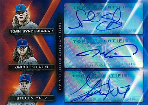2017 Topps Fire Baseball Triple Autograph Noah Syndergaard, Jacob deGrom, Steven Matz