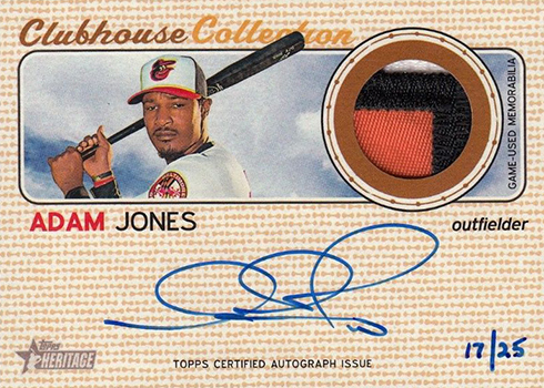 2017 Topps Heritage High Number Baseball Clubhouse Collection Autograph Adam Jones