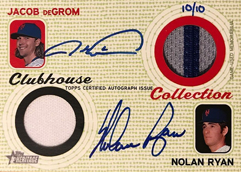 2017 Topps Heritage High Number Baseball Clubhouse Collection Dual Autograph Jacbo deGrom Nolan Ryan