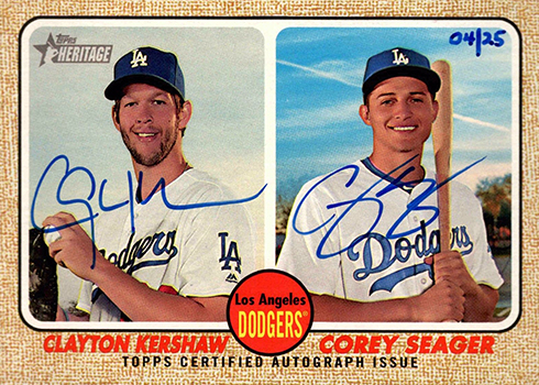 2017 Topps Heritage High Number Baseball Dual Autograph Clayton Kershaw Corey Seager