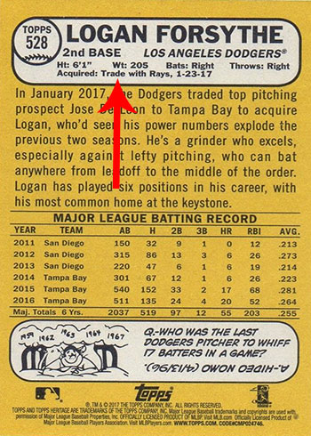 2017 Topps Heritage High Number Variations - 528 Logan Forsythe Traded