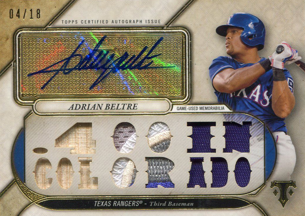 2017 Topps Triple Threads Baseball Adrian Beltre Autographed Relic
