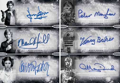 2018 Topps Star Wars Black and White Six Autograph
