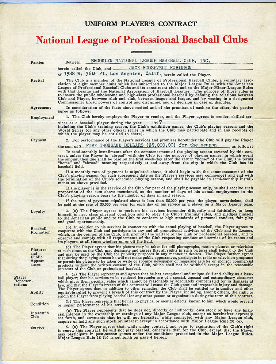 Jackie Robinson Brooklyn Dodgers Contract