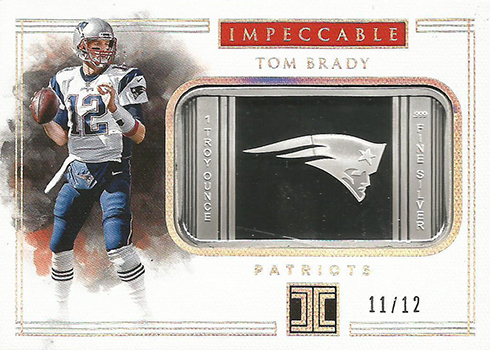 2017 Panini Impeccable Football Silver Patriots Tom Brady